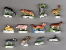 RARE Série Complète 12 Grosses Fèves Brillantes Ajourées LE ZODIAQUE CHINOIS Arguydal 2003 - Animals