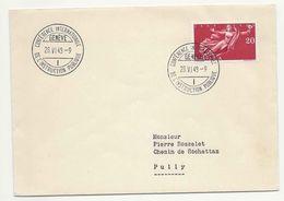Schweiz Suisse 1948: CONFÉRENCE INTERNATIONALE DE L' INSTRUCTION PUBLIQUE Zu 283 Mi 498 Yv 455 O GENÈVE 28.VI.48 - Langues