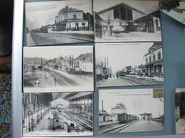 Lot 26 CPA Cartes Postales Anciennes Chemin De Fer   Gares Dans Toute La France Valeur Vérifiée Chacune De 10 à 15 € - France