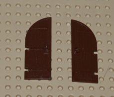 Lego Lot 2x Porte Brun Chateau 1 X 3 X 6 Dessus Courbe Ref 2554 - Lego Technic