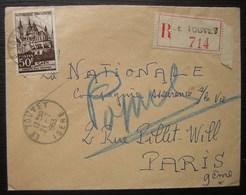 Le Touvet (Isère) 1953 Lettre Recommandée Pour Paris - Marcophilie (Lettres)