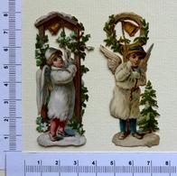 2 CHROMOS DECOUPIS...... H 8 Cm....ANGES AVEC CLOCHE DE NOEL - Motiv 'Weihnachten'