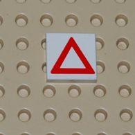 Lego Dalle 2 X 2 A Motif Triangle De Signalisation Rouge Printed Ref 3068bp06 - Lego Technic