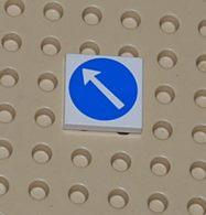 Lego Dalle 2 X 2 Avec Fleche Blanche En Cercle Bleu Ref 3068bp50 - Lego Technic