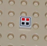 Lego Dalle 1 X 1 A Motif De Boutons Rouge Et Noir Ref 3070bp06 - Lego Technic