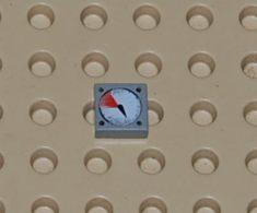 Lego Dalle 1 X 1 A Motif Jauge Blanc Et Rouge Ref 3070bp07 - Lego Technic