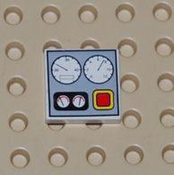 Lego Dalle 2 X 2 Avec Motif De Jauges Printed Ref 3068px4 - Lego Technic