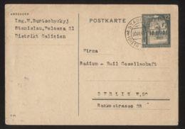 Generalgouvernement - Ganzsache/Postkarte MiNr. P10, Gelaufen STANISLAU 20.11.1941 - Besetzungen 1938-45