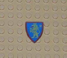 Lego Bouclier Personnage Avec Motif Lion Jaune Debout Sur Fond Bleu Printed Ref 3846p4h - Lego Technic