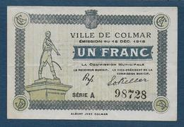 Ville De COLMAR - Billet De UN FRANC - 15 Déc. 1918 - Série A - Chamber Of Commerce