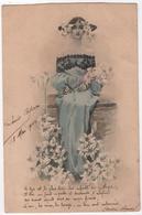 CPA La Femme Aux Lys Avec Poème Art Nouveau Coiffure - Ilustradores & Fotógrafos