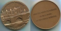 0102  MEDAILLE DE TABLE 70 MM VILLE DE CARCASSONNE PATRIMOINE MONDIAL - France