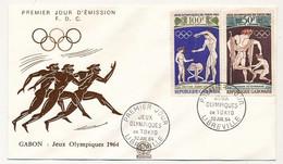 GABON => 2 FDC - Poste Aérienne / Jeux Olympiques De Tokyo - 30 Juillet 1964 - Gabon