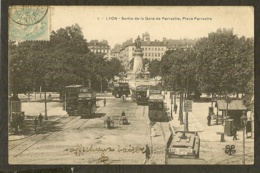 CP-LYON - Sortie De La Gare De Perrache, Place Perrache - Lyon
