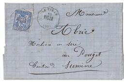 1877 - OBLITERATION CONVOYEUR STATION De LE VIGAN LIGNE De LE VIGAN À LUNEL Sur LETTRE LAC SAGE N° 78 OU 79 - Poststempel (Briefe)