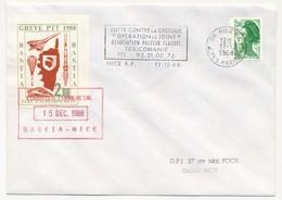"""FRANCE => 2 Plis BASTIA Vers Nice - Vignettes Grève PTT 1988 Taxe D'acheminement"""" - Décembre 1968 - Strike Stamps"""