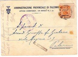 ITALIA  Allied Militae Postage  Cartolina  Affr. AMGOT Cent. 15     X   Palermo 1 - 2 - 1944 - Storia Postale