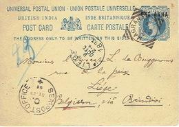 BRITISH INDIA - Entier Postal - MAGRAHAT 18 SEPT 1893 To LIEGE (BELGIUM) Via BRINDISI - SEA-POST-OFFICE - Inde (...-1947)