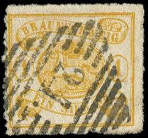 ALLEMAGNE (ANCIENS ETATS) BRUNSWICK 11a : 1s. Jaune, Percé En Lignes, Obl. 24, TB - Brunswick