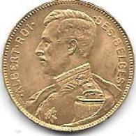 20 Frs OR 1914 ALBERT I - 11. 20 Francs & 4 Belgas