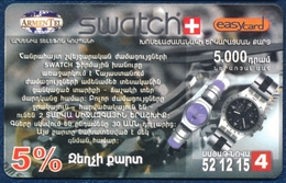 ARMENIA ARMENTEL EASYCARD 5000 DRAM RECHARGE PRE-PAID PHONECARD TELEPHONE CARD SWATCH WATCH VERY GOOD - Armenië