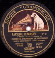 78 Trs - 30 Cm - Etat TB - RAPSODIE HONGROISE N°2 (LISZT) 1re Et 2e Parties - Orchestre Symphonique De Philadelphie - 78 T - Disques Pour Gramophone