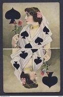 Spade - Reverse Image Dark Hair Woman Roses Wrap 4 Spades Playing Card Postcard - Playing Cards
