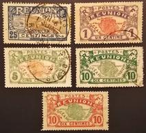 France (ex-colonies & Protectorats) > Réunion 5 Valeurs Oblitérés à Voir - Réunion (1852-1975)