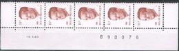 Cat. Nr. 2085** (P5a):  11F: 1 Strook Met Datum: 18 X 83 - 1981-1990 Velghe