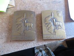 2 MEDAILLES EN BRONZE DE ,,,Louis PATRIARCHE,CORSE,CORSICA,signé Sur Les Deux Faces Embleme,carte Géographique - Bronzes