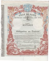 Obligation Ville De Paris / Emprunt Municipal 1871 / Industrie Commerce / Belle Illustration Couleur / Angelots - Actions & Titres
