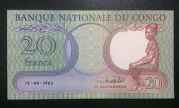 1962 CONGO 20 FRANCS ( P 4 ) - UNC - - Congo