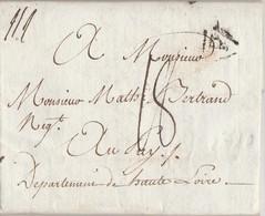 Lettre 1790 De Paris Adressée Mr Mathieu Bertrand Négociant Le Puy 43 / Cachet P De Paris + Taxe 18 - Marcophilie (Lettres)