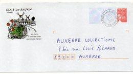 2006 --PAP Repiquage Luquet -ETAIS-LA-SAUVIN-89 (mare,roseraie,moulins à Vent-Cachet Rond Concordant - Postwaardestukken