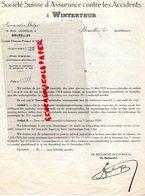 BELGIQUE- BRUXELLES- RARE LETTRE 1929 SOCIETE SUISSE SSURANCE CONTRE ACCIDENT- WINTERTHUR- 6 RUE LEOPOLD - Bank & Insurance