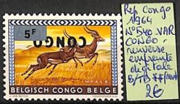 [826031]Congo 1964 - N° 540var, Variétés, Congo Renversé, Empreinte Digitale, Animaux, SNC - Republik Kongo - Léopoldville (1960-64)