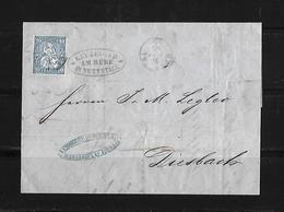 1865 Switzerland →10 C Blue On Nettstall Entire Letter Cover To Glarus - 1862-1881 Helvetia Assise (dentelés)