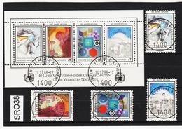 SRO38 VEREINTE NATIONEN UNO WIEN 1986 Michl 64/67 + BLOCK 3 Used / Gestempelt - Wien - Internationales Zentrum