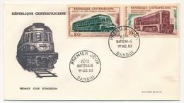 REP CENTRAFRICAINE => 2 FDC - Fête Nationale 1963 ( Trains / Projets De Voies Ferrées ) - Centrafricaine (République)