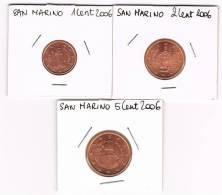 SAN MARINO  SET 1- 2 - 5  Cent 2006 - San Marino