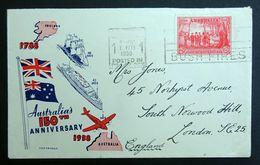 Australia 1938 SG193 150th Anniv Illustrated Slogan Cancel Cover Sydney To London. - 1937-52 George VI