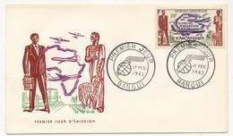 CENTRAFRIQUE => FDC - Fondation D'Air Afrique - 17 Février 1962 - Bangui - Centrafricaine (République)