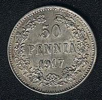 Finnland, 50 Penniä 1917, Silber, AUNC - Finlande