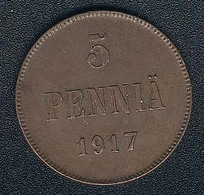 Finnland, 5 Penniä 1917, XF - Finlande