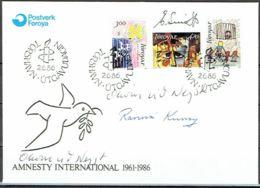 Faroe Islands 1986. Paintings. 25 Anniv Amnesty International..  Michel 136-38 FDC. Signed. - Féroé (Iles)