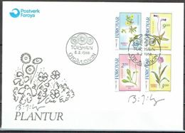 Faroe Islands 1988.  Flowers.  Michel 162-65 FDC. Signed. - Féroé (Iles)