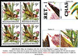 AB2190.081 - Bloc De 4 Timbres (01, 02, 11 Et 12), Planche C, Papier Typo (t1) - 1985-.. Vögel (Buzin)