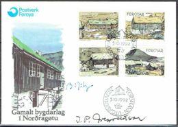 Faroe Islands 1992.  Typical Local Buildings In Nordragøta.  Michel 239-42 FDC.   Signed. - Féroé (Iles)