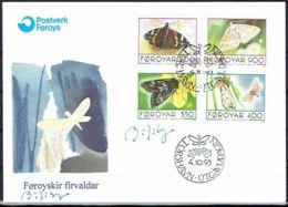 Faroe Islands 1993.  Butterflies.  Michel  252-55   FDC.   Signed. - Féroé (Iles)
