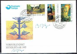 Faroe Islands 1995.  Nordic Art Assosiation. Michel  280-82  FDC.   Signed. - Féroé (Iles)